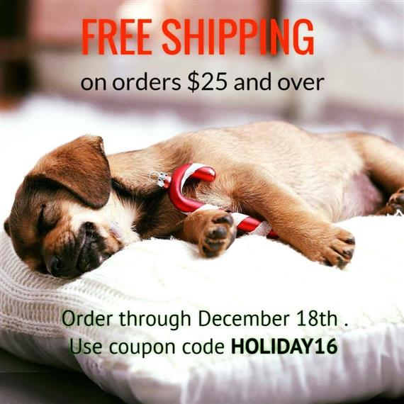 (archived image) Free shipping on orders $25 and over. Order through December 18th. Use Coupon code Holiday16.