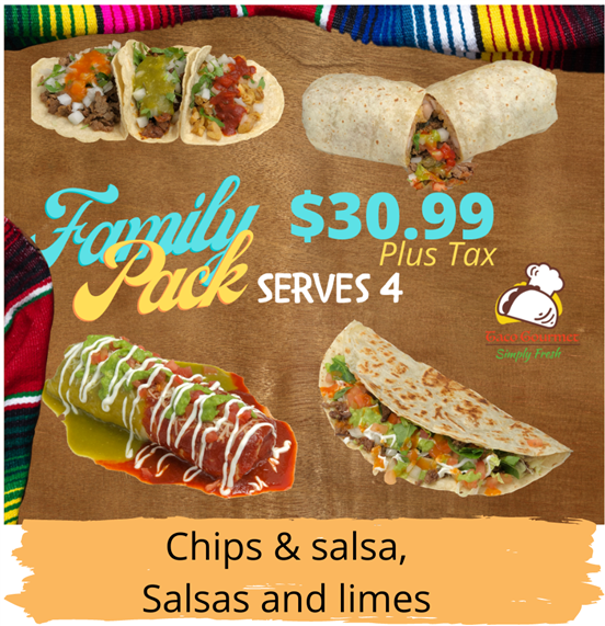 family pack serves 4 $30.99 plus tax. chips and salsa, salsas and limes