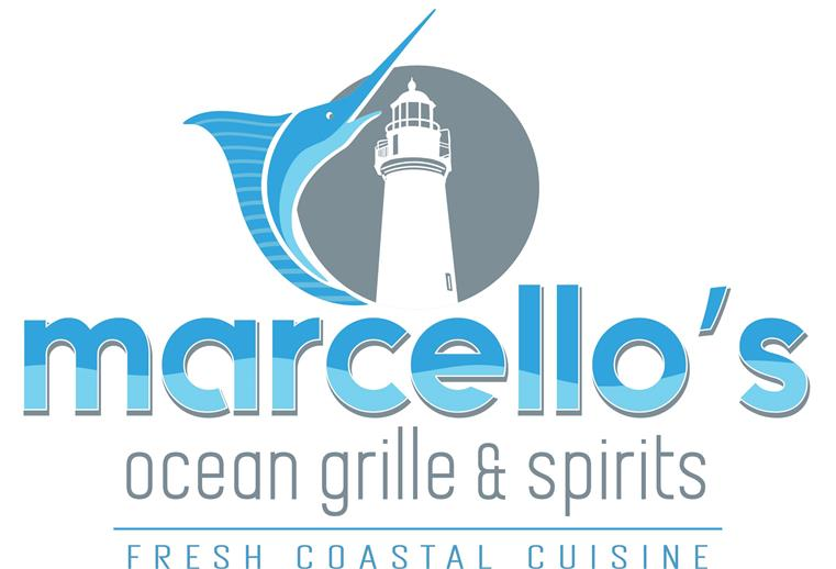 Marcello's Ocean Grille & Spirits- Fresh Costal Cusine. Logo features a lighthouse and marlin.
