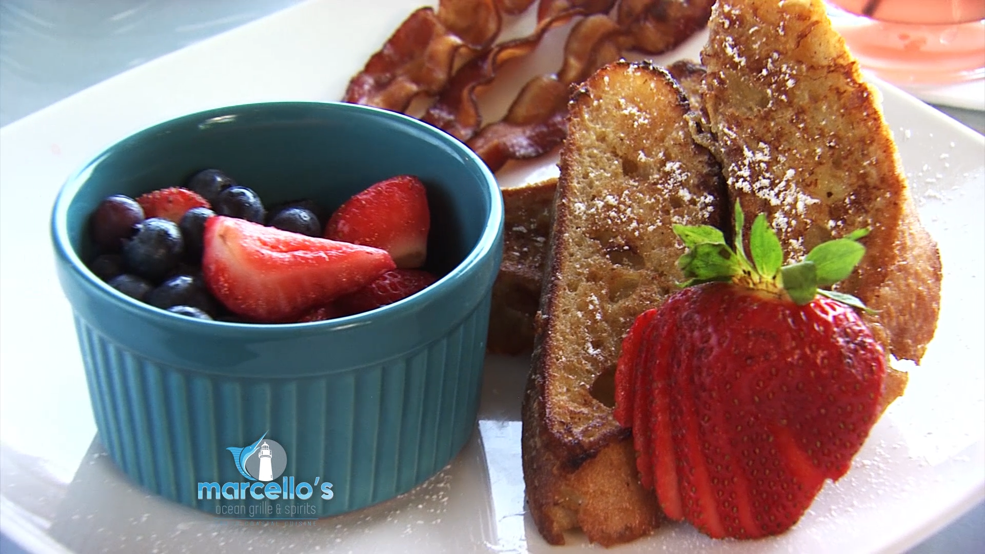 French toast with Bacon and Fruit Salad