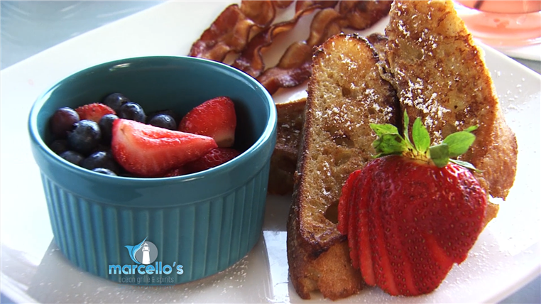 French Toast with Fruit salad and Bacon