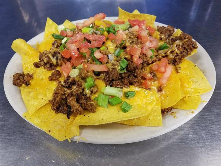 taco meat on tortilla chips