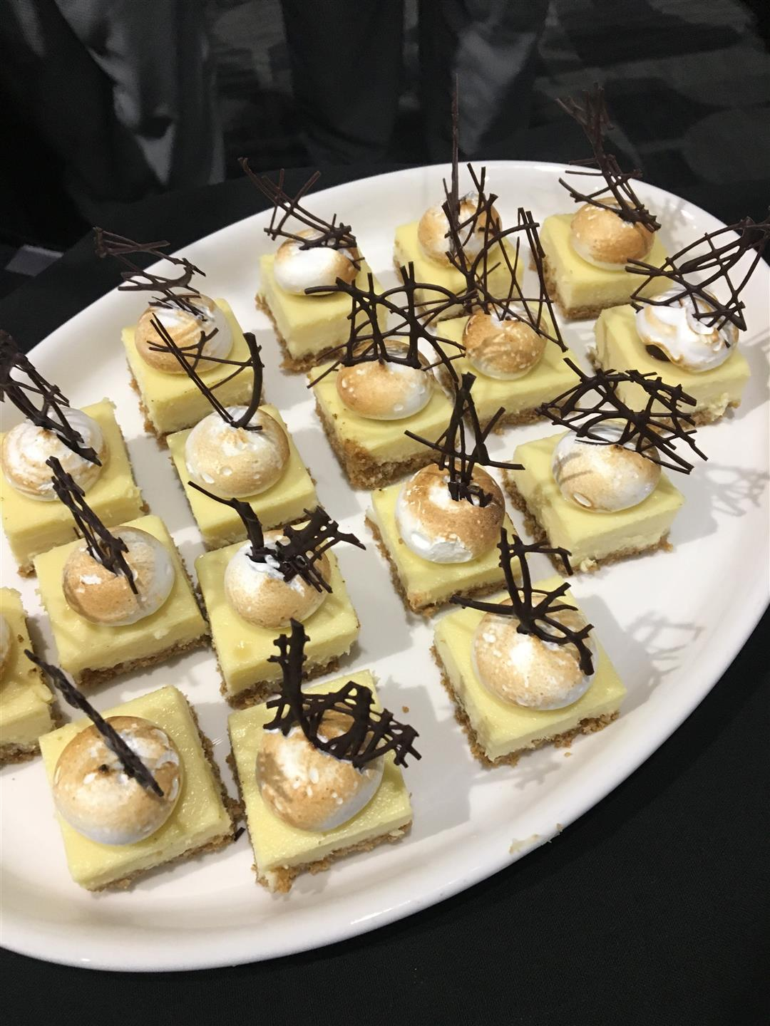 Cheesecake bites on a platter