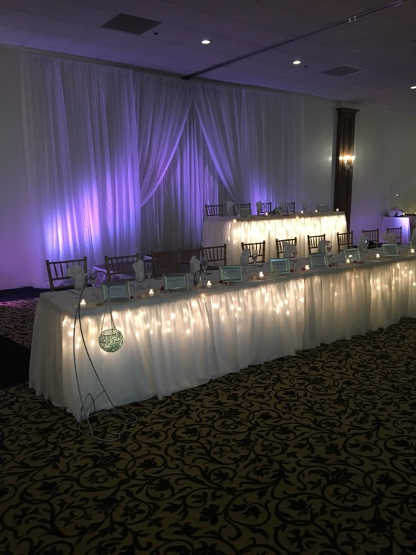 Wedding party table set up with glass wear and dish wear with candles