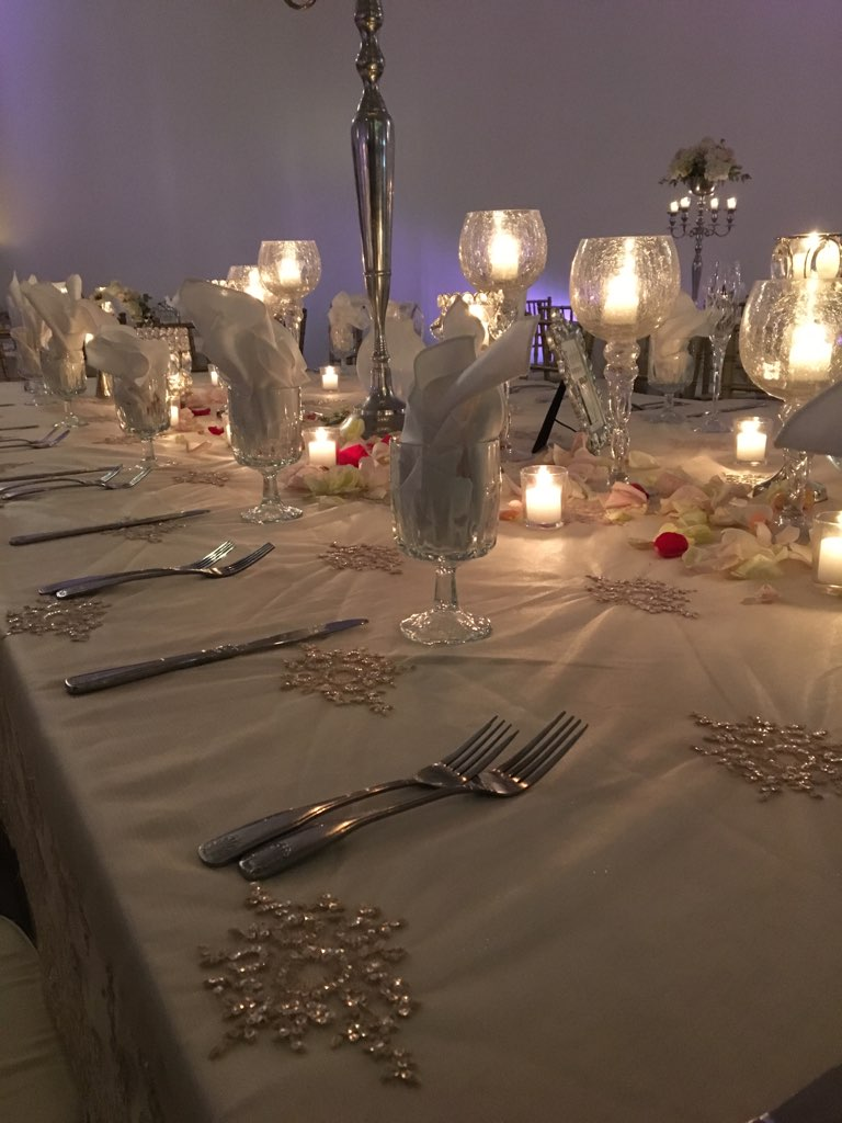 Wedding tables set up with glass wear and dish wear with candles