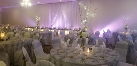 Table setting with lights and candles