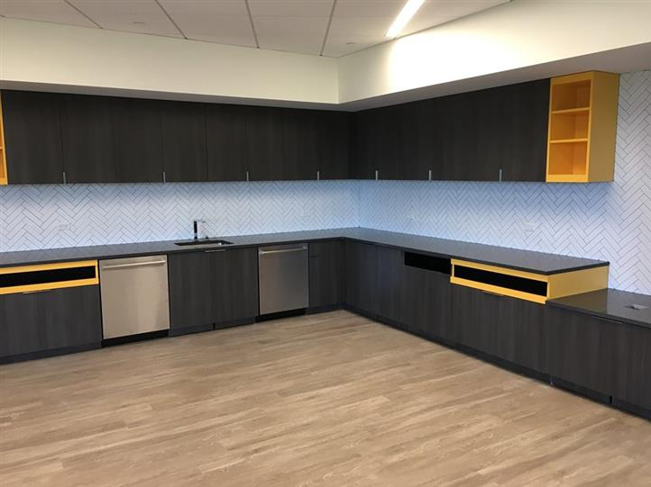interior design showcasing newly installed cabinets