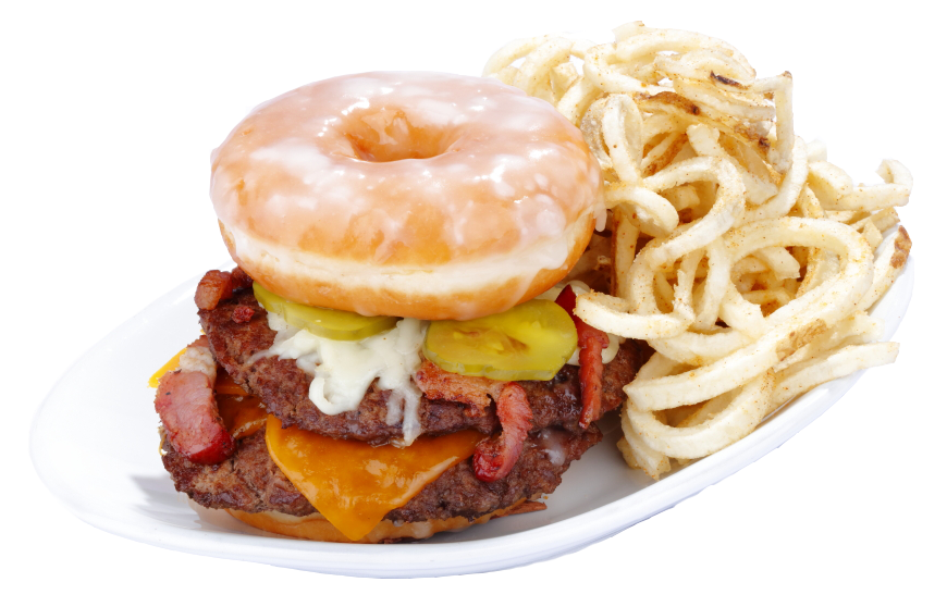 Burger with cheese, bacon, pickles, donut and side of fries