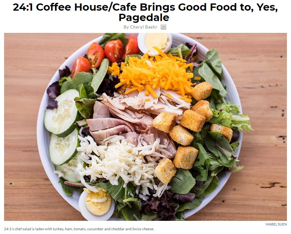 """Photo of online article called """"24:1 Coffee/Cafe brings good food to you, yes, pagedale"""". The cover photo is of 24:1's chef salad is laden with turkey, ham, tomato, cucumber and cheddar and Swiss cheese"""