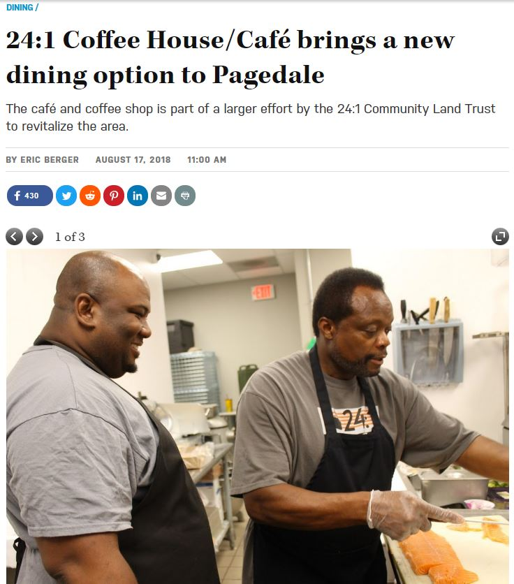 """Photo of online article titled """"24:1 Coffee House/Cafe brings a new dining option to Pagedale. The cover photo of the article has both shows both owners."""