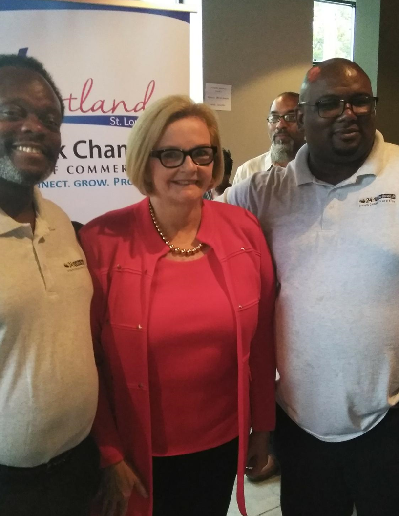 Senator Claire McCaskill with 24:1's owners