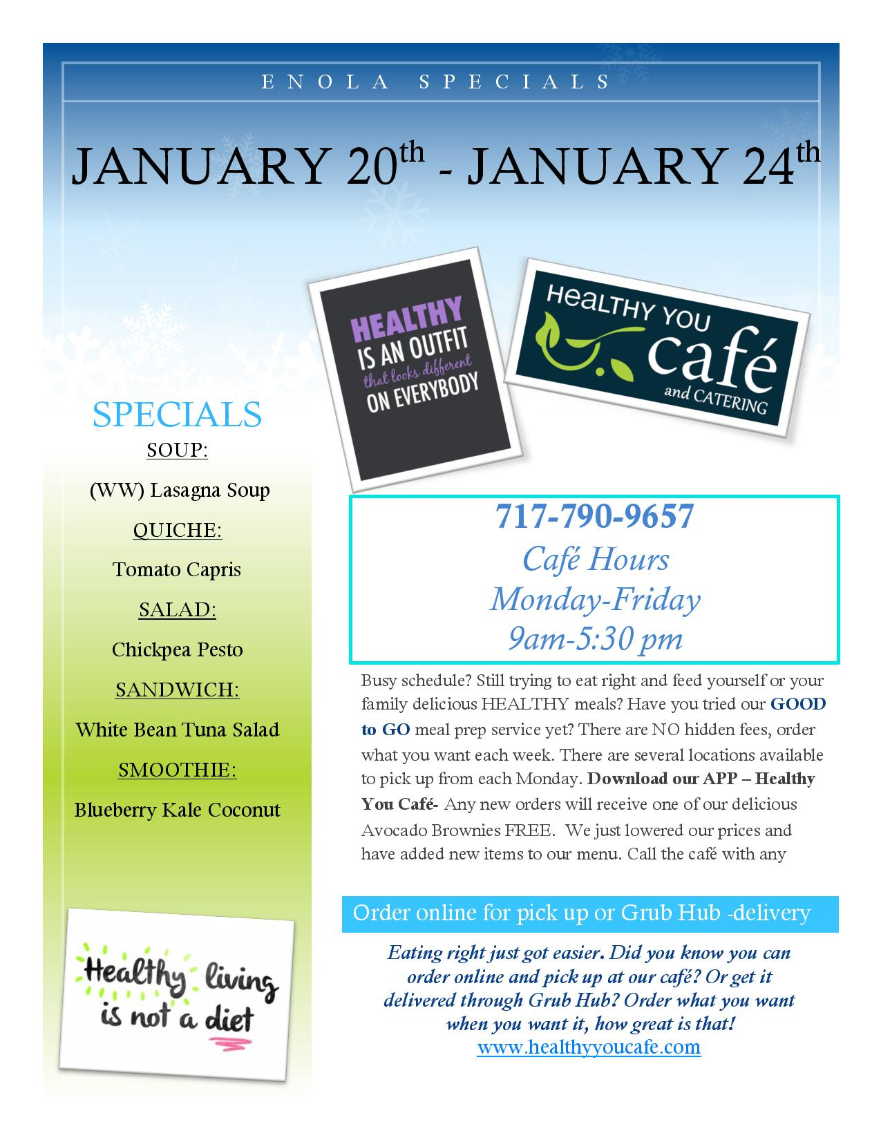 January 20th-January 24th Specials. Readable PDF linked above.