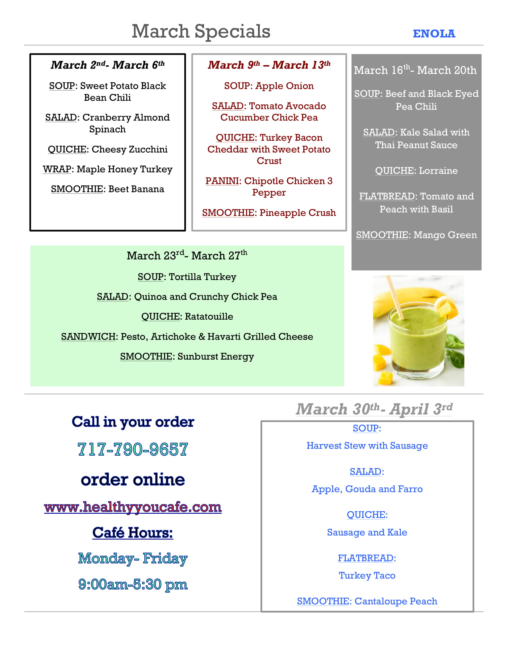 March specials. Click above for a readable version