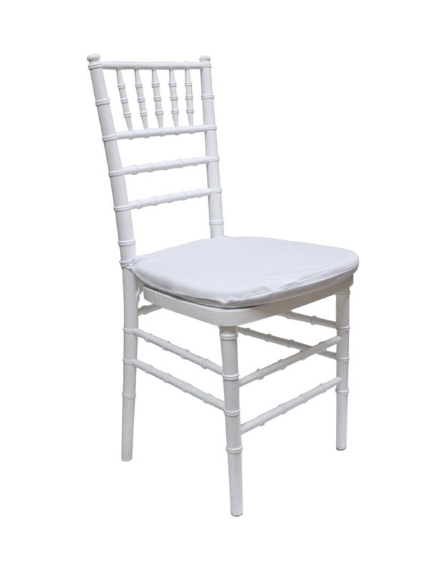White Chiavari Ballroom Chair w/cushion — $7.50