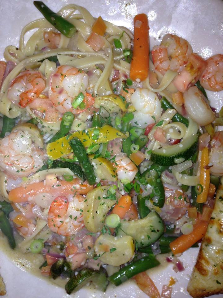pasta with vegetables and shrimp