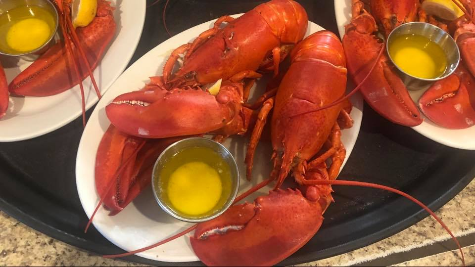 several lobster dishes with cups of butter