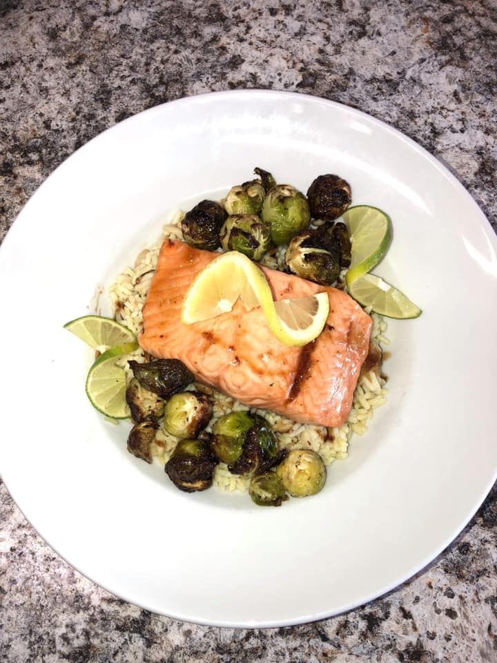Maple brown sugar salmon with balsamic Brussels sprouts over rice