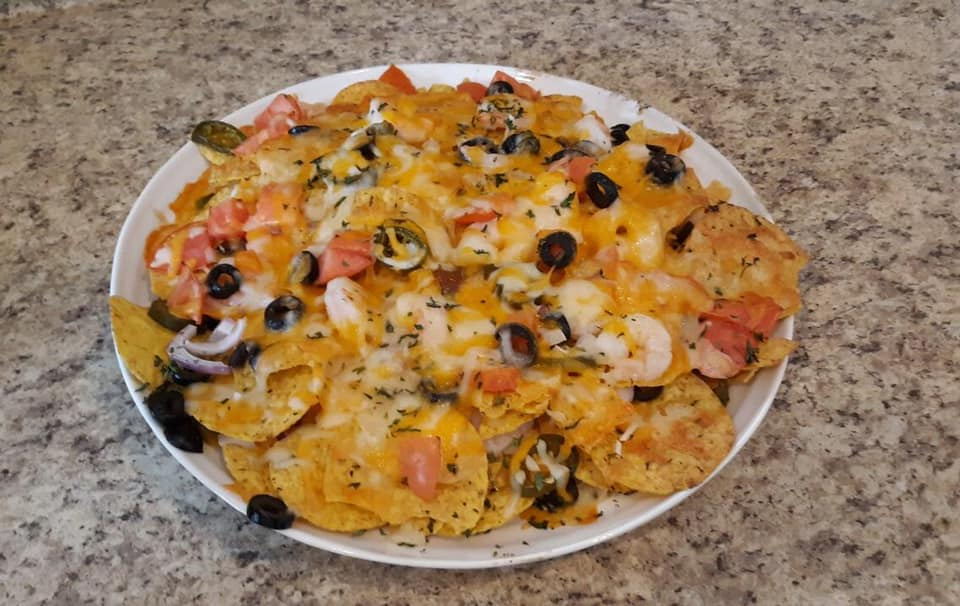Shrimp Nachos with various toppings
