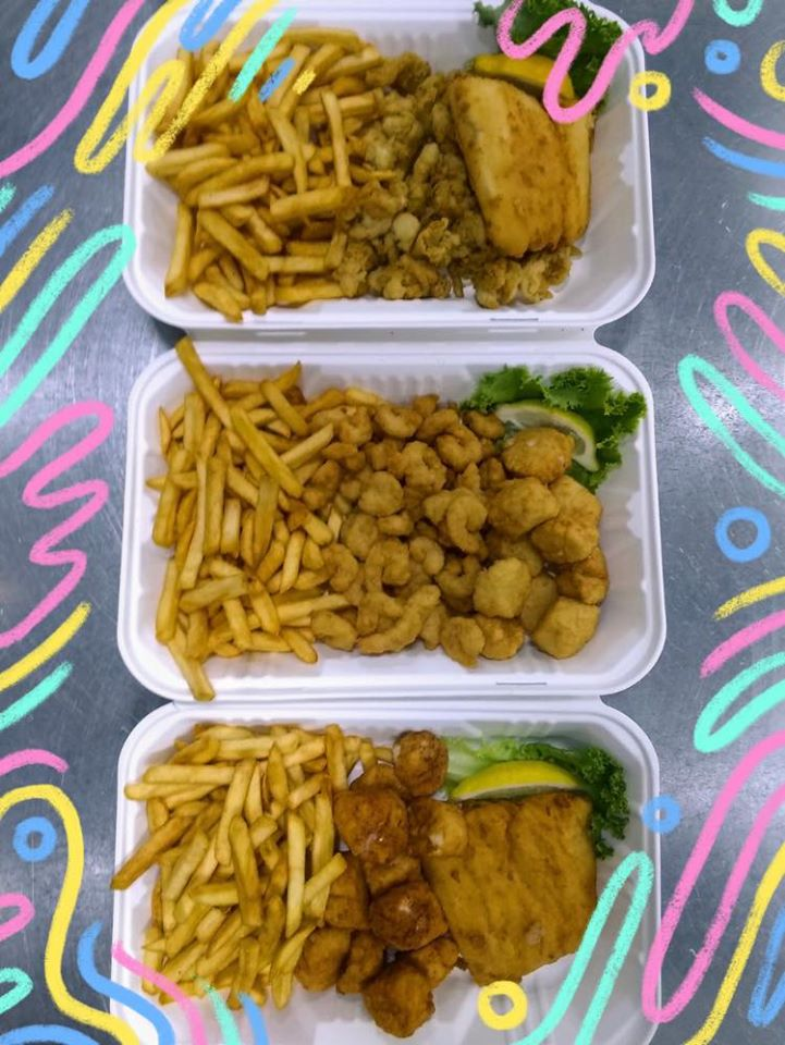 """three fried combo dishes in Styrofoam """"to go"""" containers"""