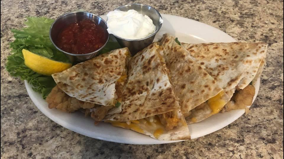 Haddock Quesadilla with salsa and sour cream sides