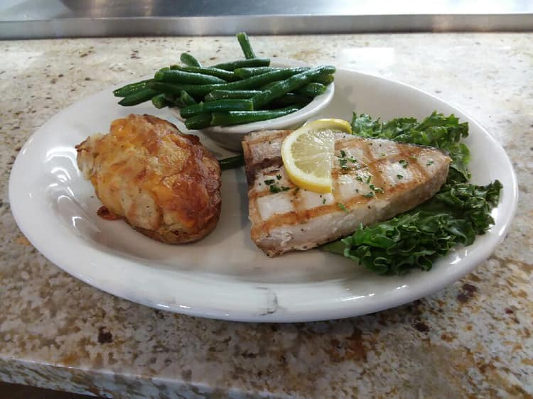 Swordfish with twice baked potato and string beans