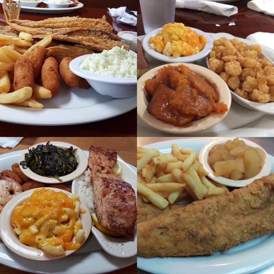 Collage photo of four fried food dishes served with various sides