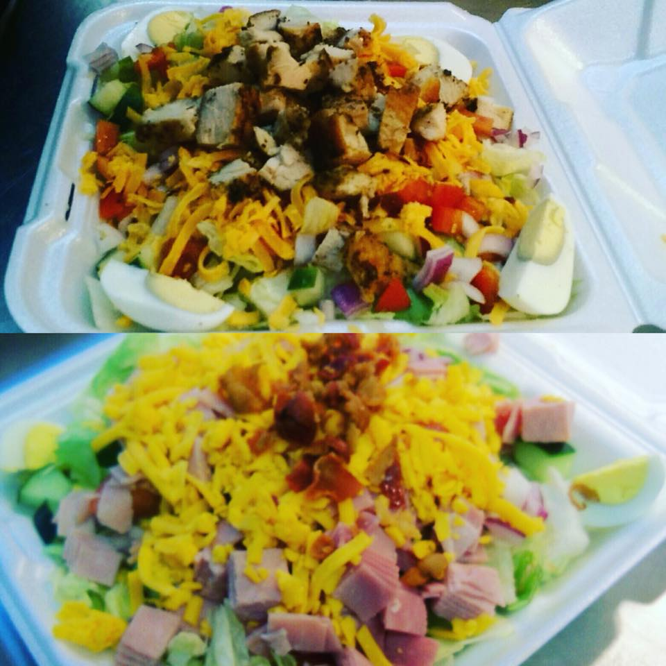 Collage photo of two salad dishes one toppe dith chicken and one topped with ham