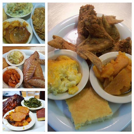 Collage of photos with mains served with side dishes in trays