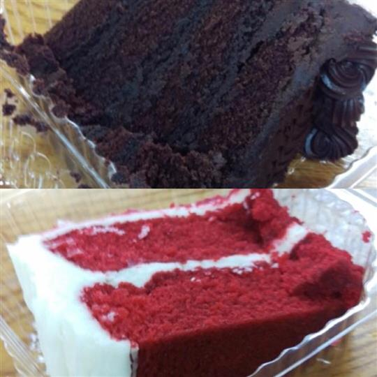 Collage photo of a chocolate cake and a red velvet cake