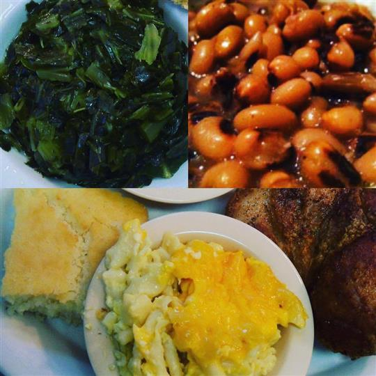 A photo collage of greens salad, baked beans and a side of macaroni and cheese