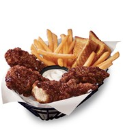 honey barbecue wings, dipping sauce, fries and toast