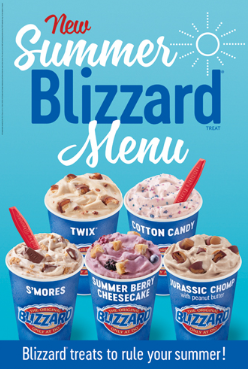 new summer blizzard menu. blizzard treats to rule your summer!