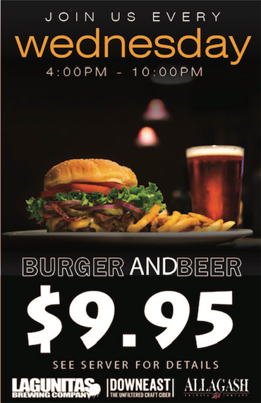 Join us Every wednesday for burgers and beef for $9.95! see server for details.