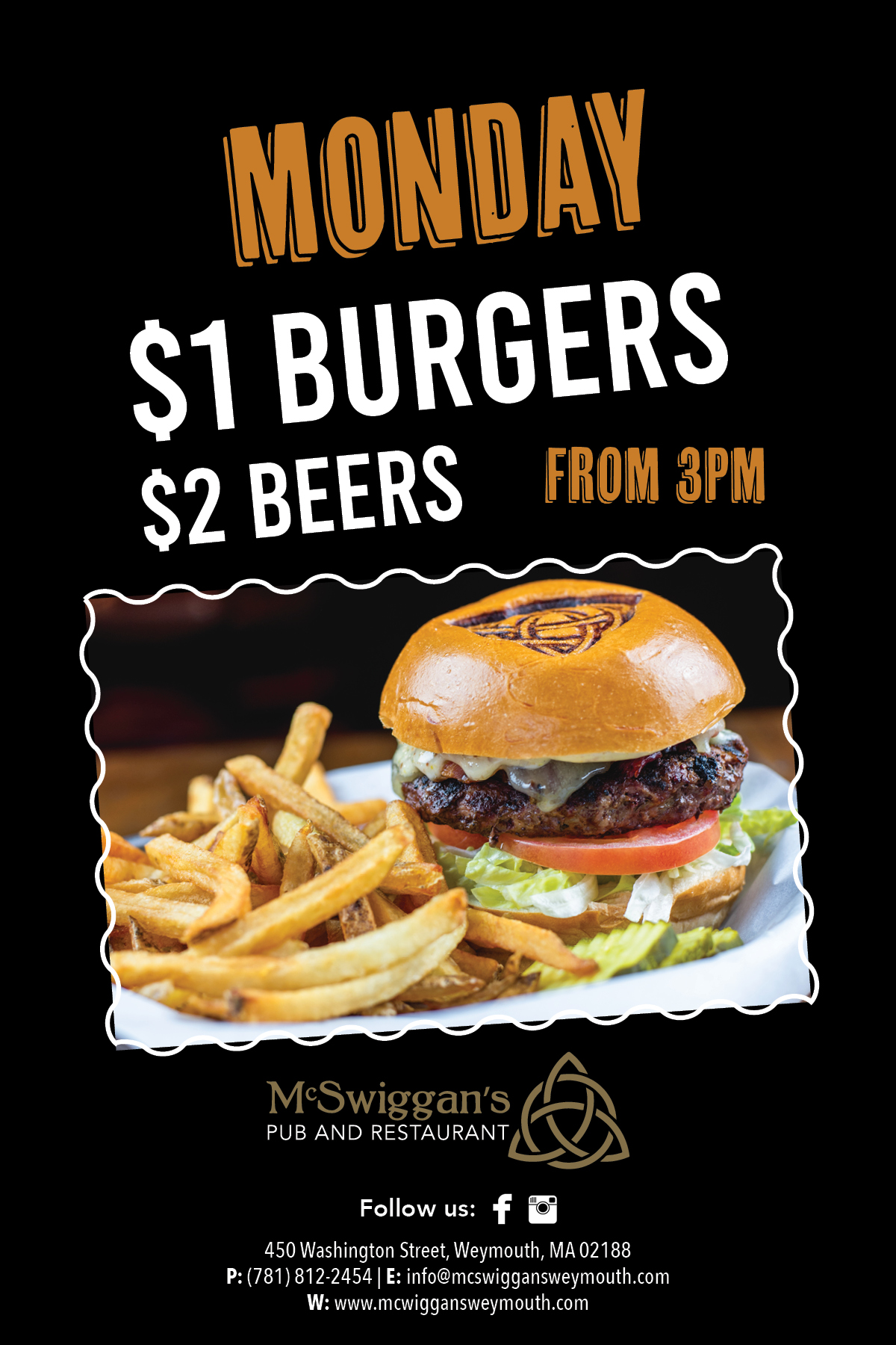 Monday $1 Burgers | $2 Beers from 3pm