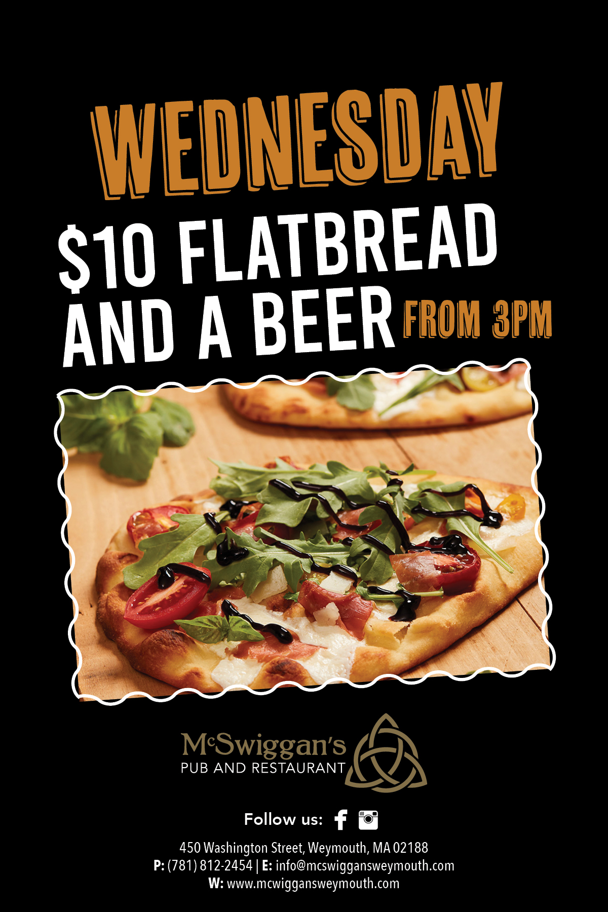 Wednesday $10 Flatbread and a beer from 3pm
