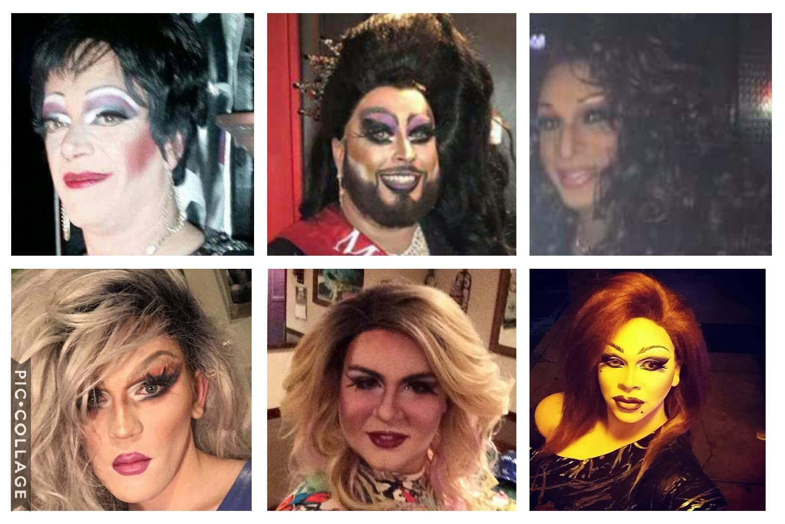Collage of glamour shots of drag queens