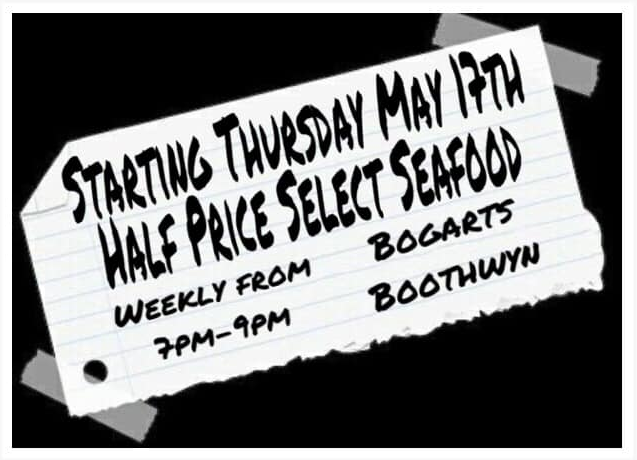 starting thursday may 17th half price select seafood - weekly from 7-9pm