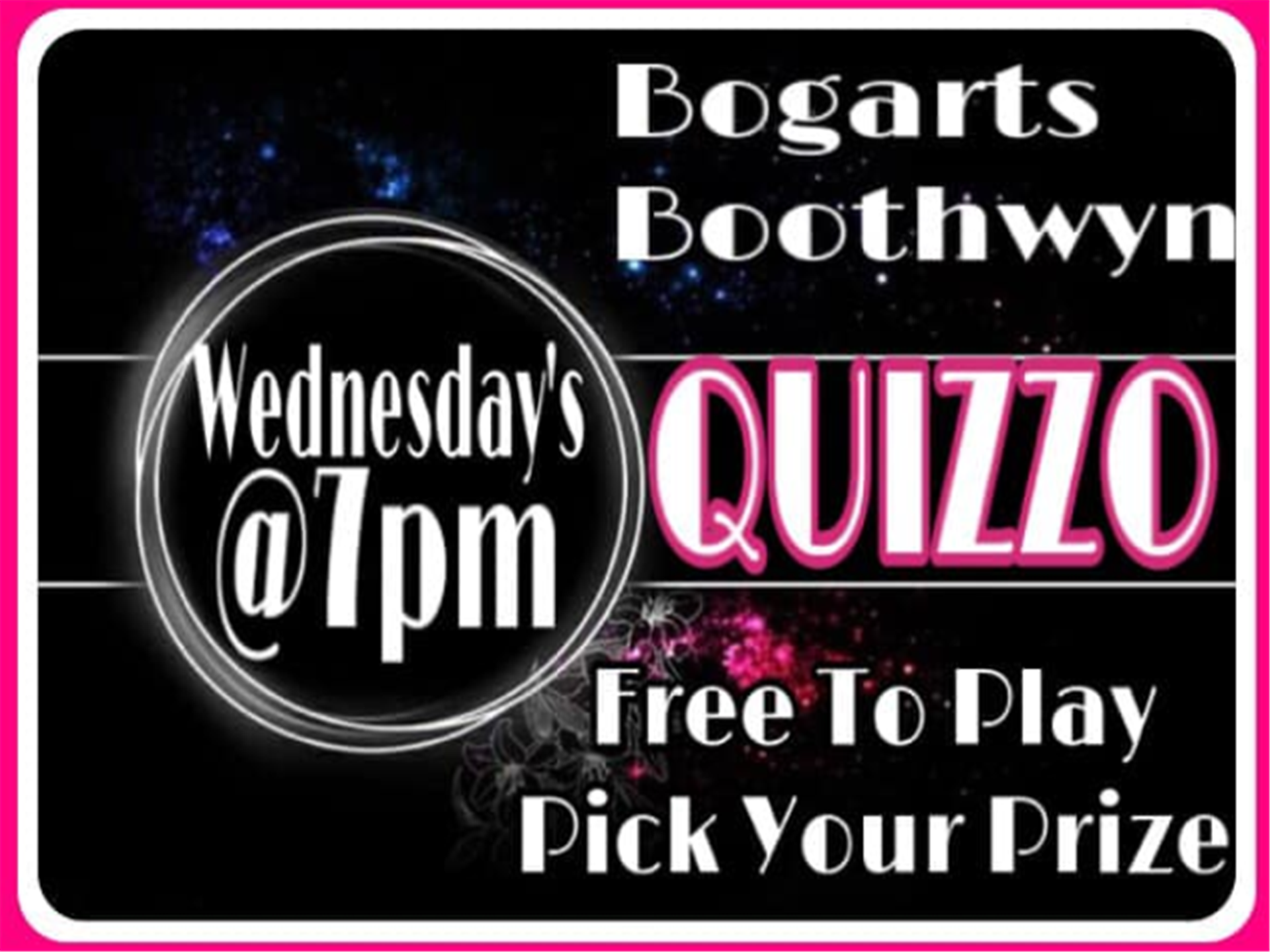 bogarts boothwyn quizzo wednedsays at 7pm free to play - pick your prize