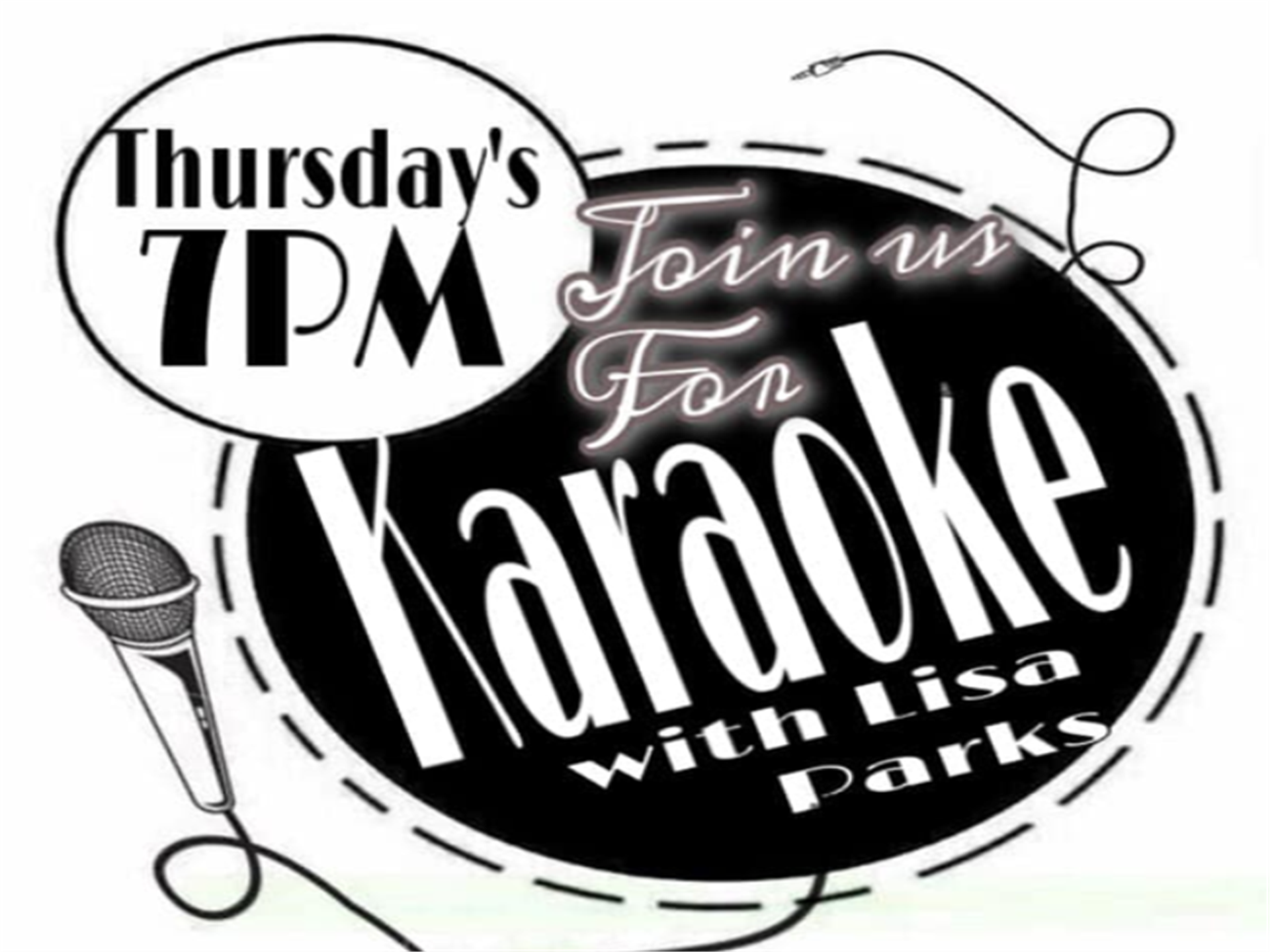thursdays at 7pm join us for karaoke with lisa parks