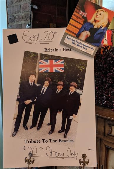 sept 20th - britain's best tribute to the beatles $20 show only - special performance by ms. roxy fea