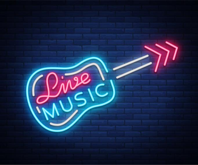 Live music in neon lights