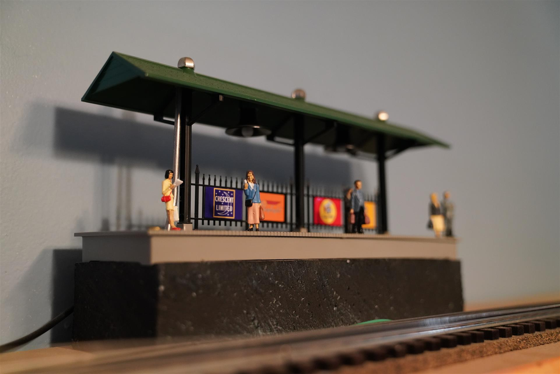 train station model set up on ledge