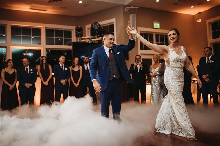 Bride and Groom Dancing in a Fog