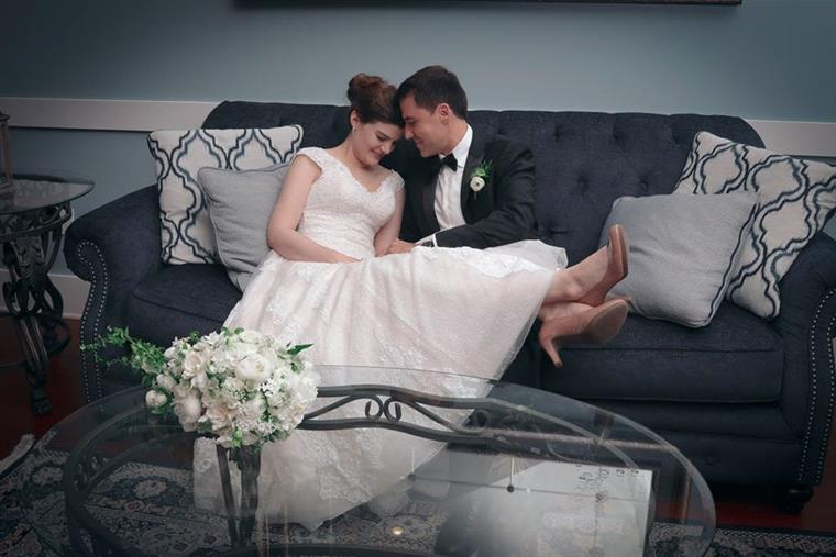 Bride & Groom on couch