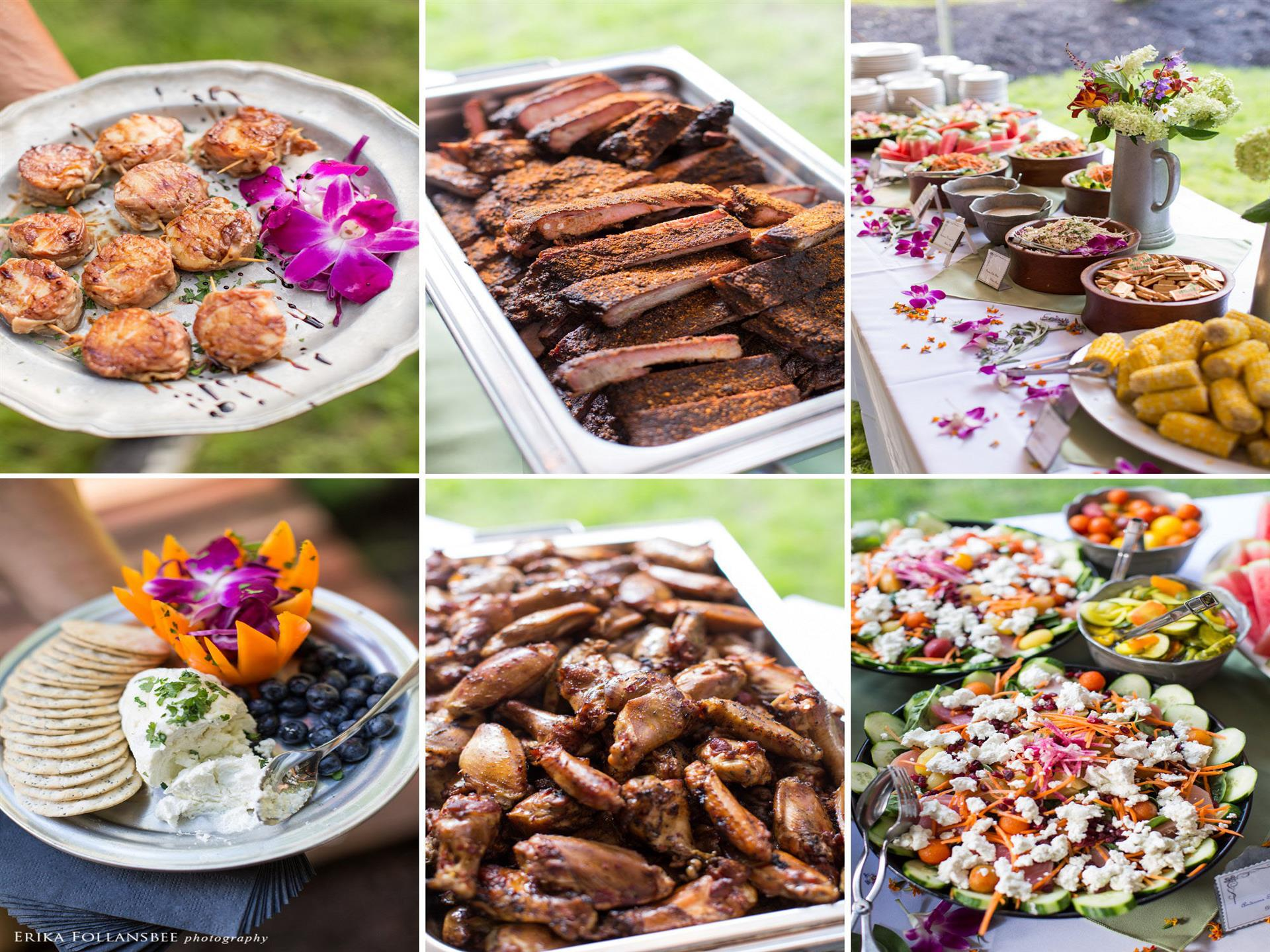 a photo collage of different dishes served for catering