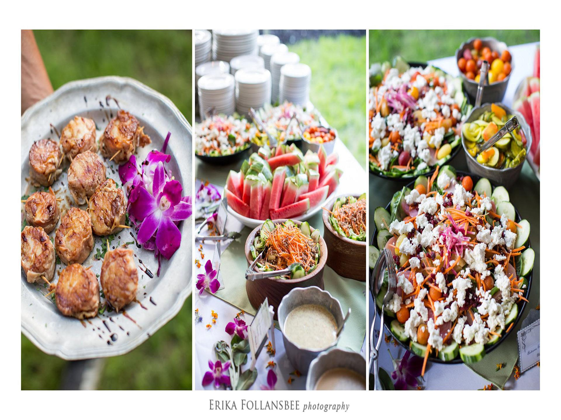 three photos of different catering dishes: a plate of scallops, a table of fruits and salads ,and a closeup of a salad with feta cheese, cucumbers, and carrots