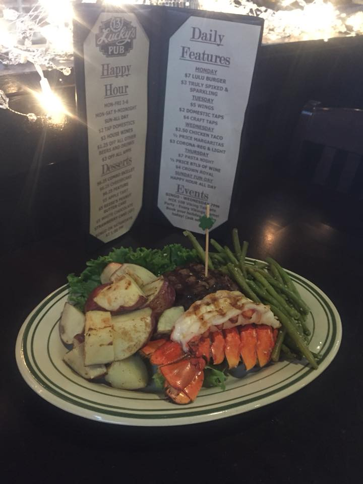 Lobster with chopped potatoes and string beans