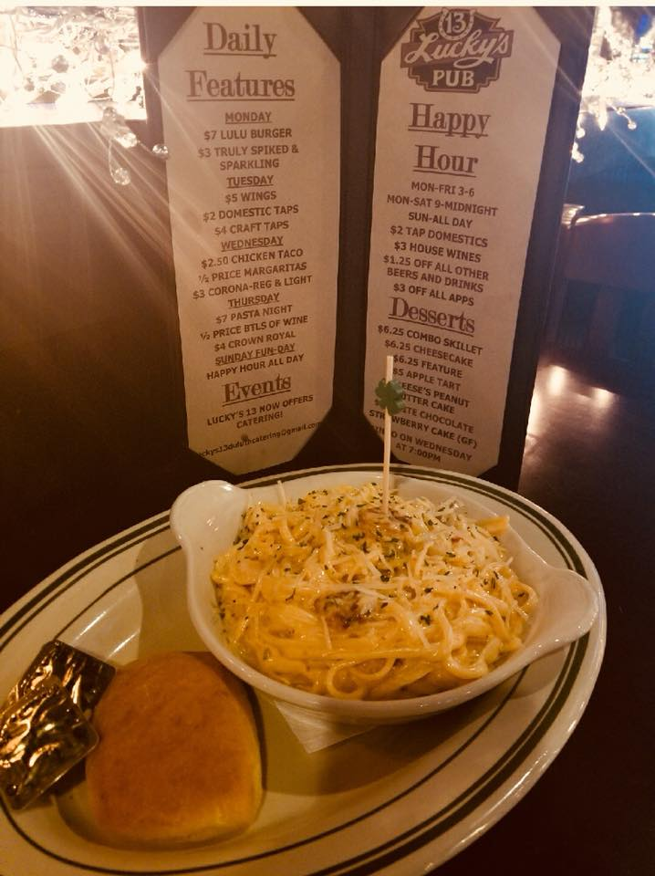 Pasta next to luckys 12 pub menu