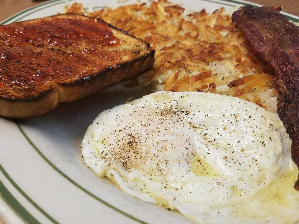 Toast, Eggs over easy, and hash browns
