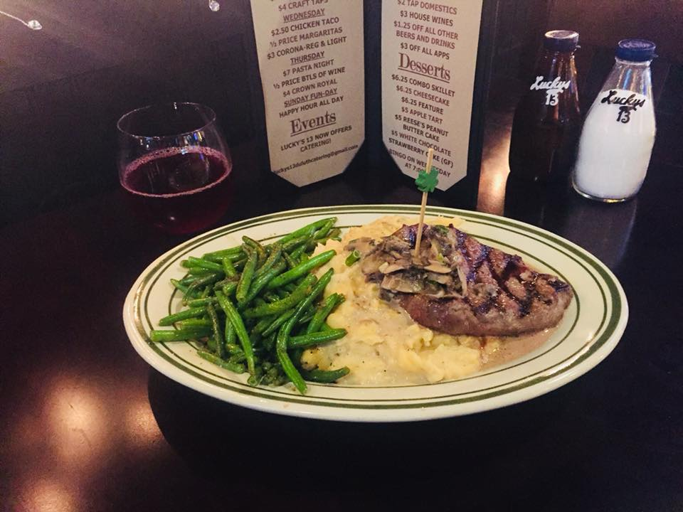 Steak, Mashed Potatoes, and string beans